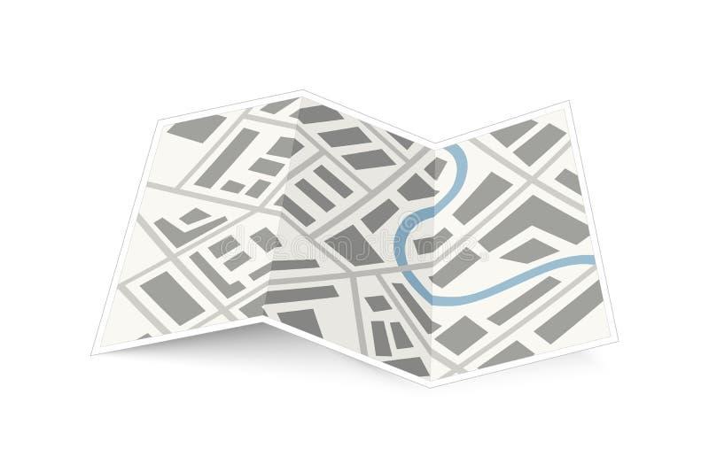 Het vouwen van kaart van de stad met schaduw op wit vector illustratie