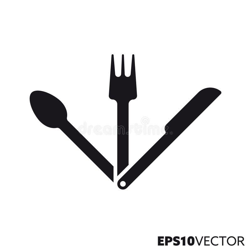 Het vouwen van pictogram van bestek het vectorglyph vector illustratie