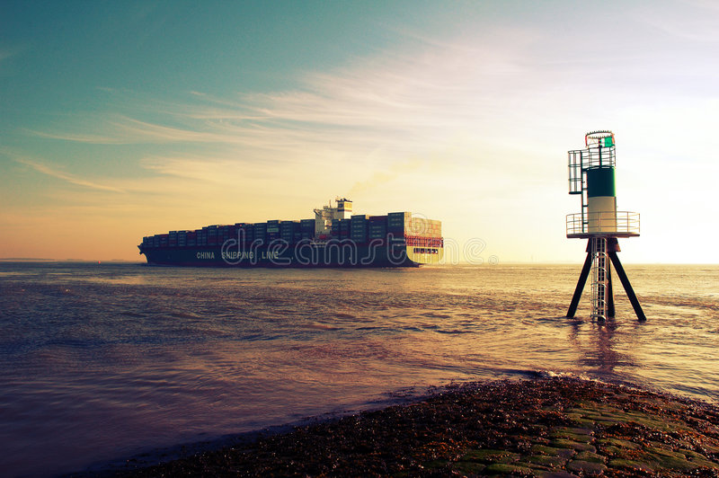 Het vrachtschip van de container royalty-vrije stock afbeeldingen