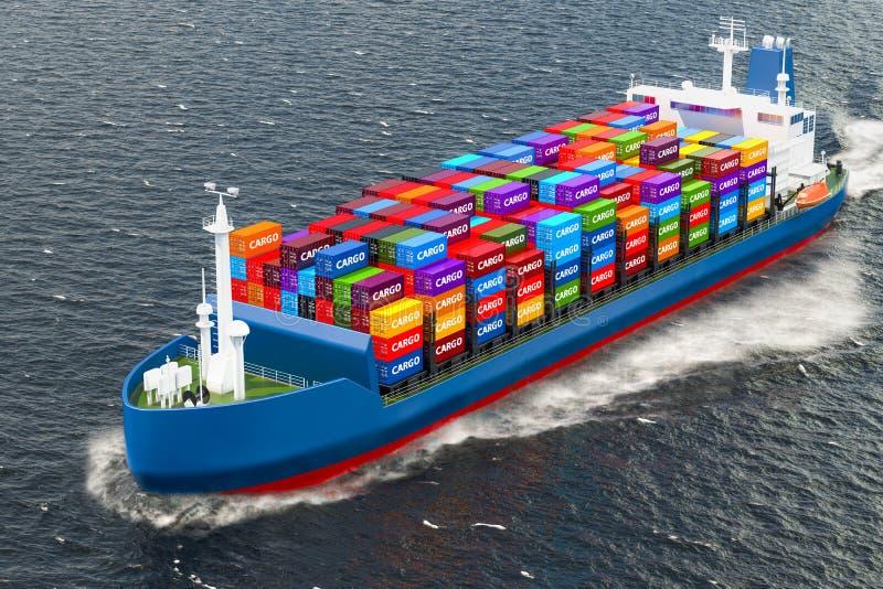 Het vrachtschipschip met ladingscontainers die in oceaan varen, 3D geeft terug stock illustratie