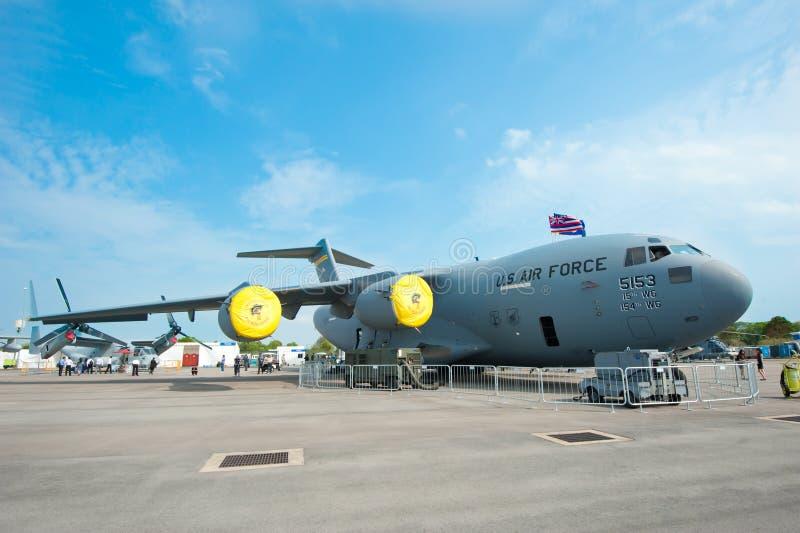 Het vrachtvliegtuig van de USAF in Singapore Airshow 2014 stock afbeelding