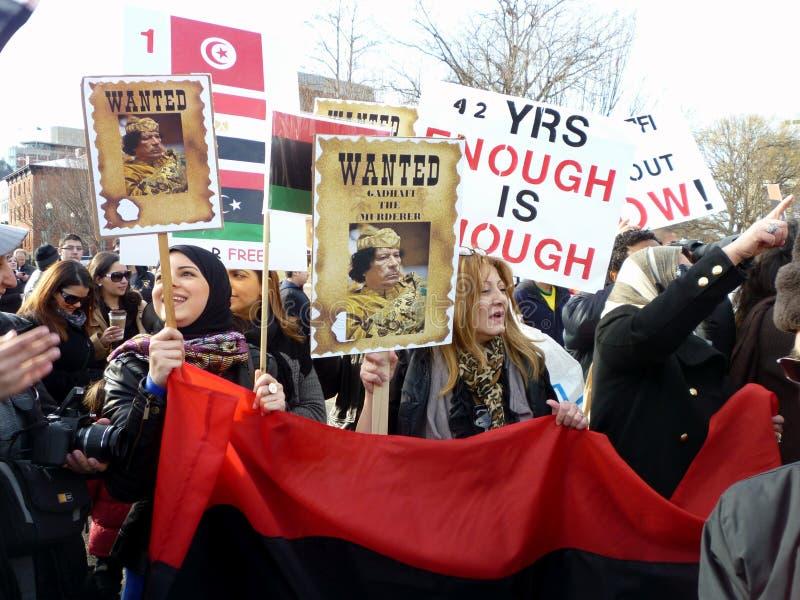Het vragen van Kadafi om weg te gaan stock afbeelding
