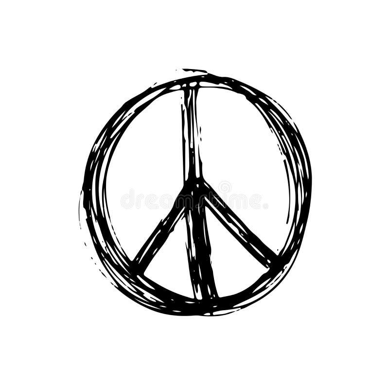 Het vredessymbool, hand getrokken grunge Hippie of pacifist ondertekent, vectorillustratie die op witte achtergrond wordt geïsole stock illustratie
