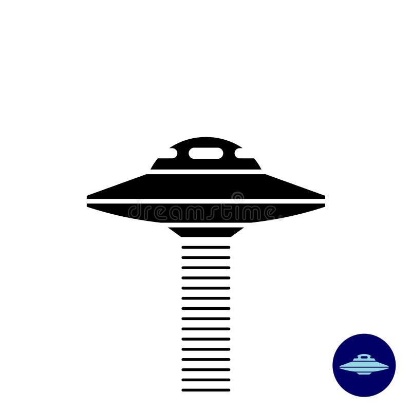 Het vreemde eenvoudige zwarte silhouet van het UFOschip stock illustratie