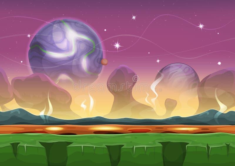 Het Vreemde Landschap van fantasie sc.i-FI voor Ui-Spel stock illustratie