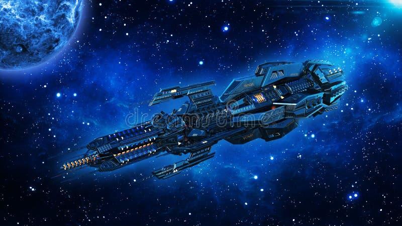 Het vreemde moederschip, het ruimteschip in diepe ruimte, het UFOruimtevaartuig in het Heelal met planeet vliegen en 3D sterren d royalty-vrije illustratie
