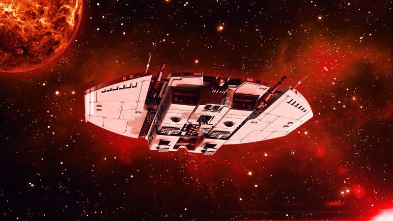 Het vreemde ruimteschip in diepe ruimte, het UFOruimtevaartuig in het Heelal met planeet vliegen en de sterren die op achtergrond royalty-vrije illustratie