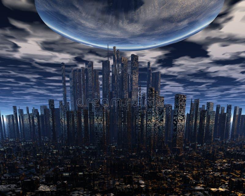Het vreemde ruimteschip van het UFO boven stad royalty-vrije illustratie