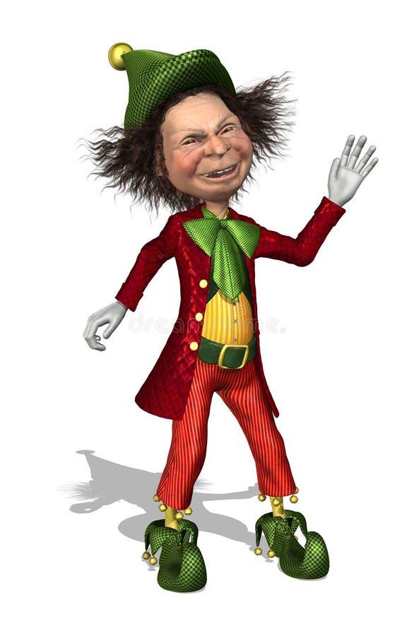 Het Vriendschappelijke Elf van de kerstman stock illustratie