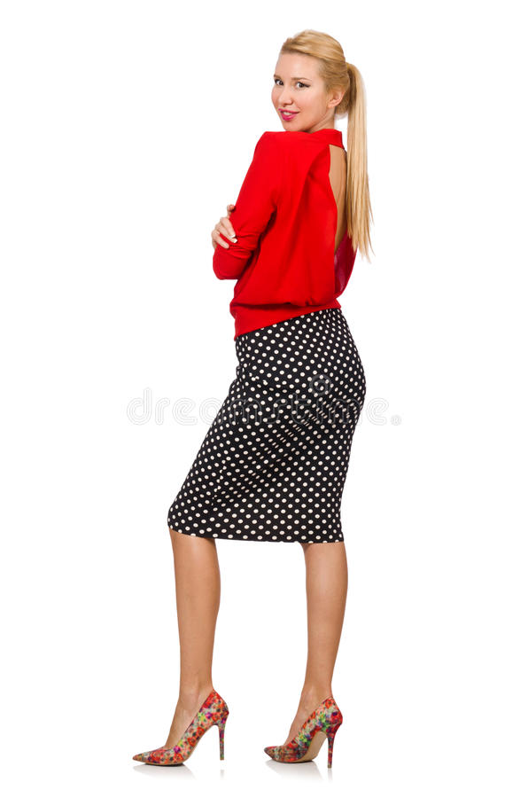 Het vrij blonde meisje die rode die blouse dragen op wit wordt geïsoleerd royalty-vrije stock afbeeldingen