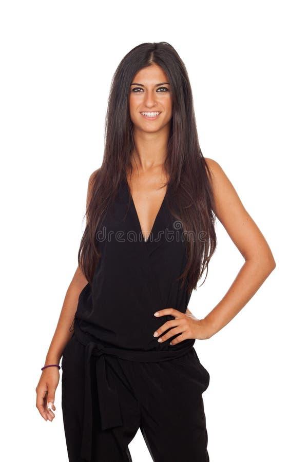 Het vrij donkerbruine meisje kleedde zich in zwarte royalty-vrije stock fotografie