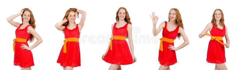 Het vrij jonge meisje in rode die kleding op wit wordt geïsoleerd royalty-vrije stock afbeeldingen