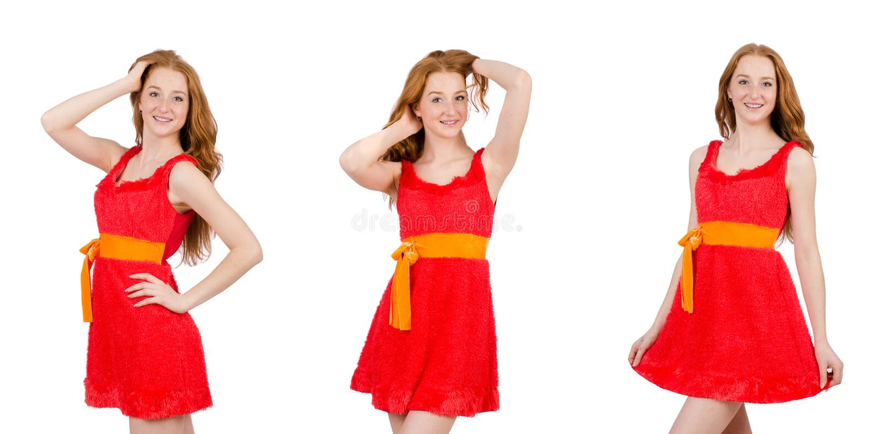 Het vrij jonge meisje in rode die kleding op wit wordt ge?soleerd royalty-vrije stock afbeeldingen