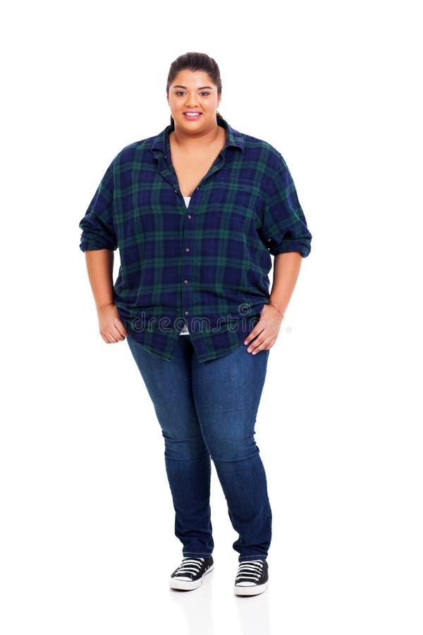 Jonge te zware vrouw stock afbeelding