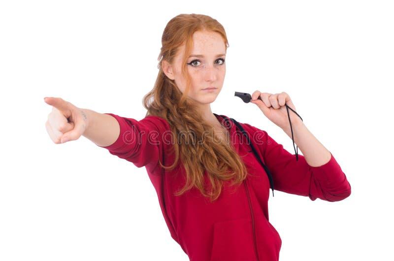 Het vrij vrouwelijke geïsoleerde fluitje van de sportmanholding stock foto