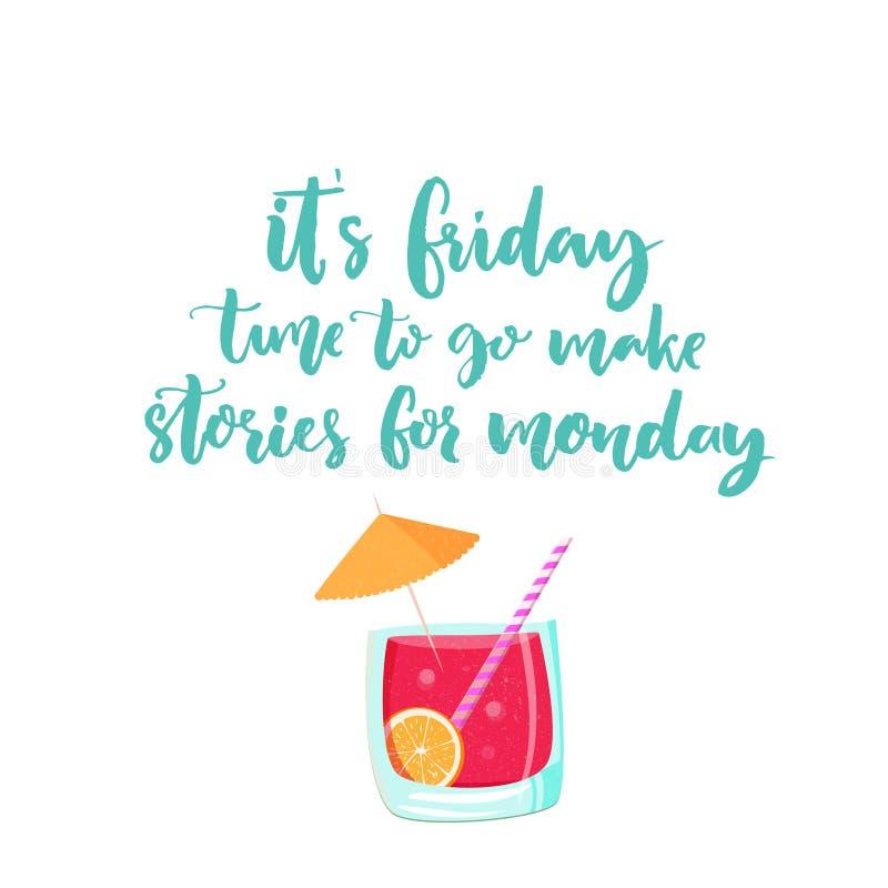 Het is vrijdag, maakt de tijd te gaan verhalen voor maandag Vectorbanner over weekend met cocktailillustratie Het grappige zeggen royalty-vrije illustratie