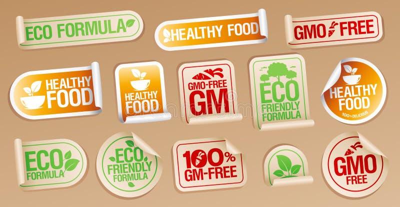 Het vrije, gezonde voedsel van GMO, eco vriendschappelijke formule, vectordiestickers voor gezond voedsel wordt geplaatst en gmo  vector illustratie