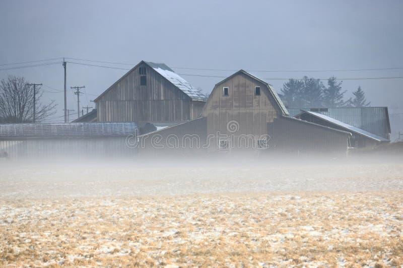 Het vroege Landbouwbedrijf van de de Winterochtend royalty-vrije stock foto