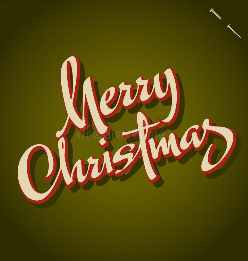 Het vrolijke de hand van Kerstmis van letters voorzien stock illustratie