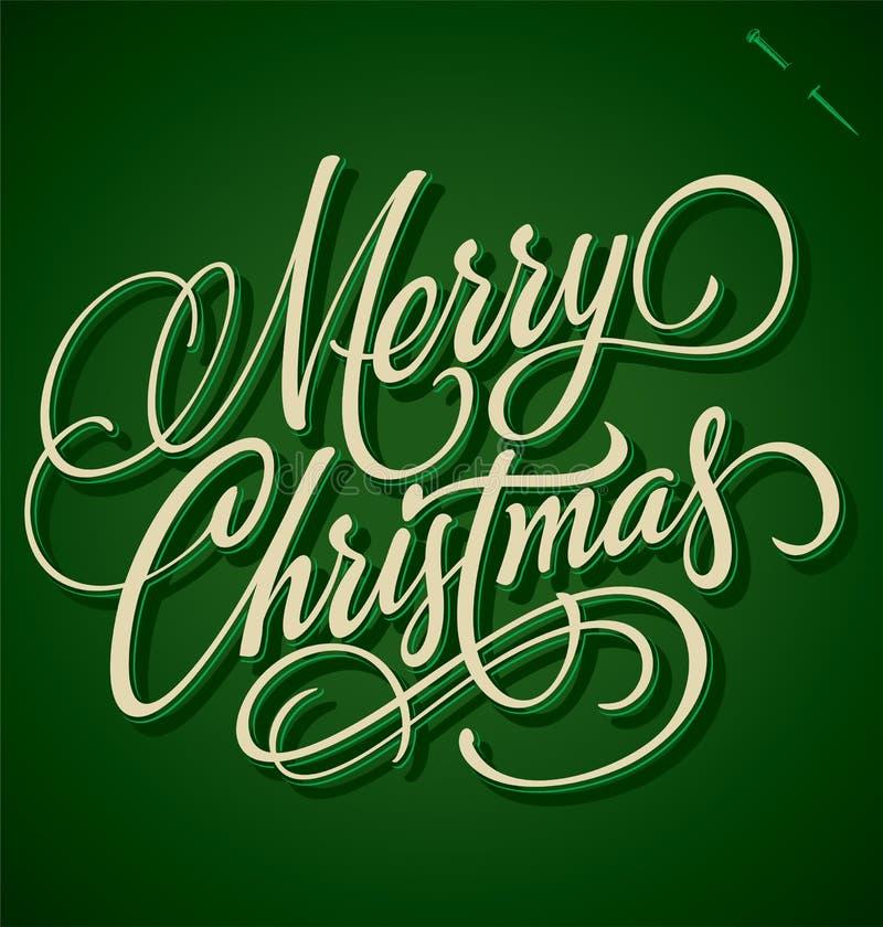 Het vrolijke de hand van Kerstmis van letters voorzien vector illustratie