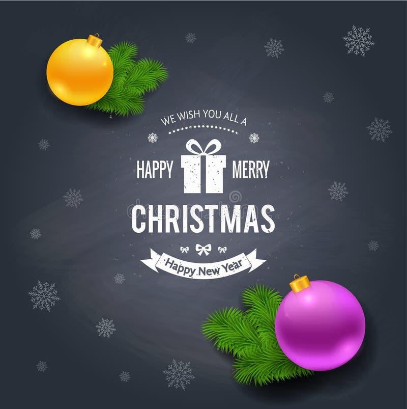 Het vrolijke embleem van Kerstmisgroeten op bord stock illustratie