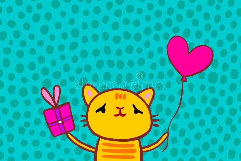 Het vrolijke heden van de katjesholding en hoort gestalte gegeven ballonhand getrokken vector poscard voor verjaardagspartij stock illustratie