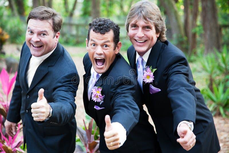Het vrolijke Huwelijk beduimelt omhoog stock afbeeldingen