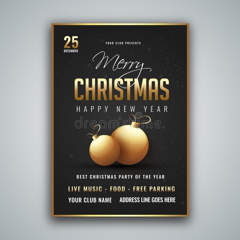 Het vrolijke Kerstmis en Nieuwjaarontwerp van het Partijmalplaatje met tijd en vector illustratie