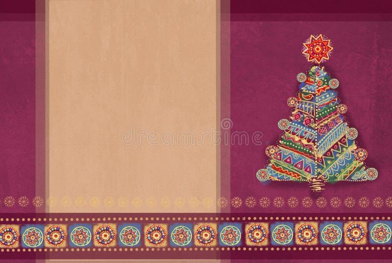 Het vrolijke Kerstmis Gelukkige Nieuwjaar veelkleurige het schilderen ontwerp van de pijnboomboom met plaats voor uw tekst Ideaal royalty-vrije illustratie