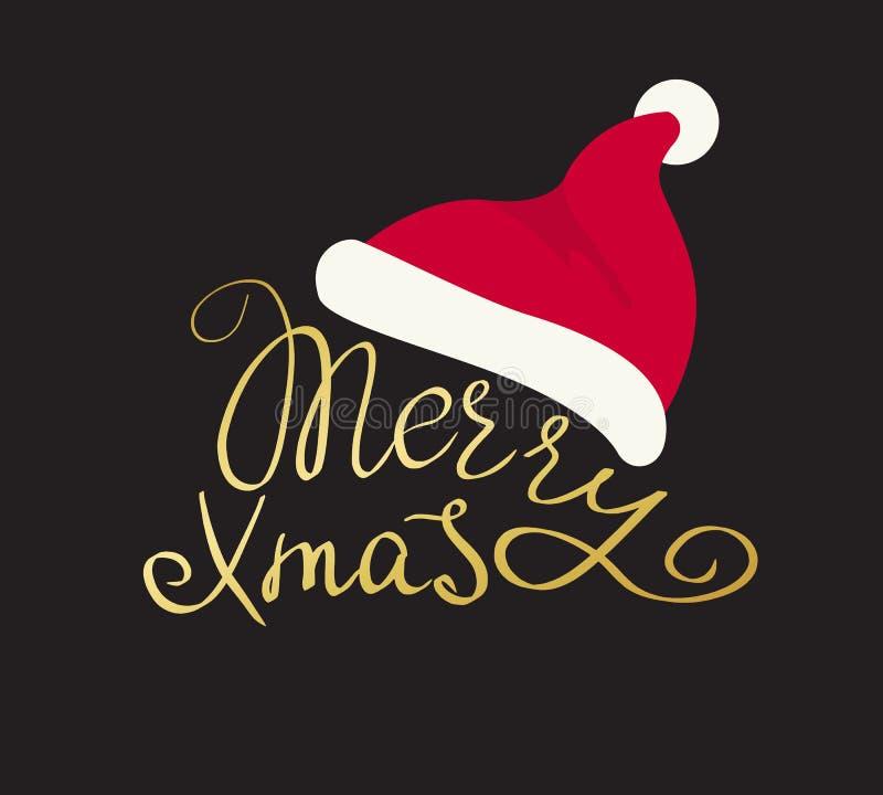 Het vrolijke Kerstmis gouden met de hand gemaakte van letters voorzien vector illustratie