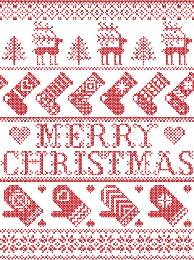 Het vrolijke Kerstmis Skandinavische patroon in de Noordse winter en Kerstmis stikte stijl, met inbegrip van sneeuwvlokken, sterr stock illustratie