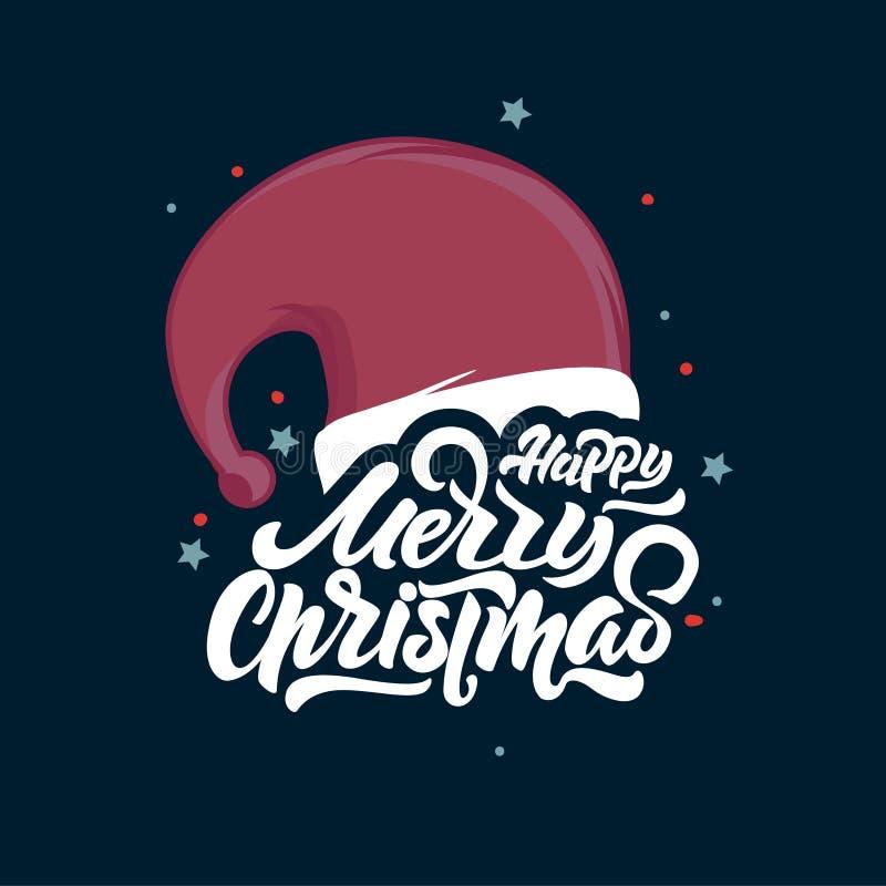 Het vrolijke Kerstmis van letters voorzien op Santa Claus-hoed Gelukkig nieuw jaar 2018 Kerstmistypografie Vectorembleem, embleme vector illustratie
