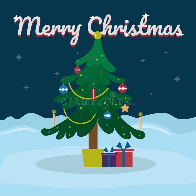 Het vrolijke Kerstmis van letters voorzien op sneeuw de winterachtergrond met Kerstboom Vectorillustratie voor groetkaart vector illustratie