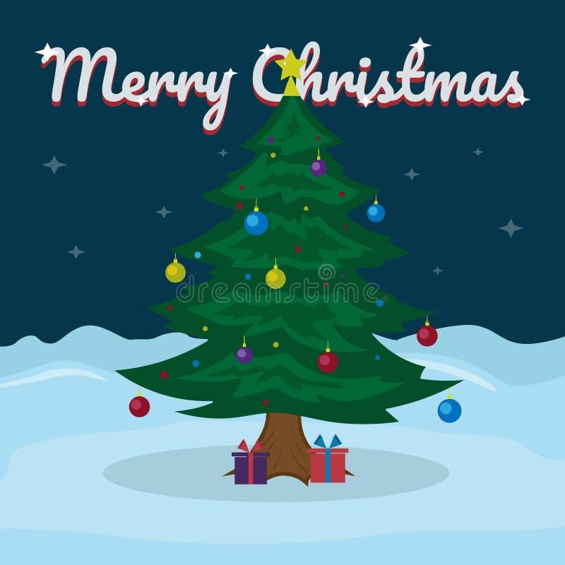 Het vrolijke Kerstmis van letters voorzien op sneeuw de winterachtergrond met Kerstboom Vectorillustratie voor groetkaart royalty-vrije illustratie