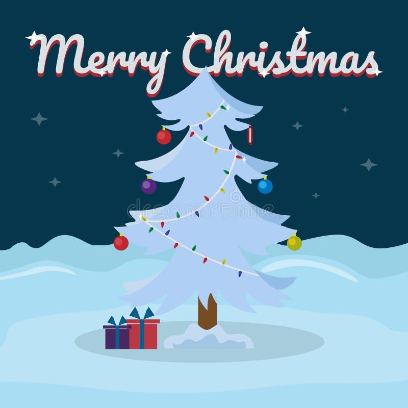 Het vrolijke Kerstmis van letters voorzien op sneeuw de winterachtergrond met Kerstboom Vectorillustratie voor groetkaart stock illustratie