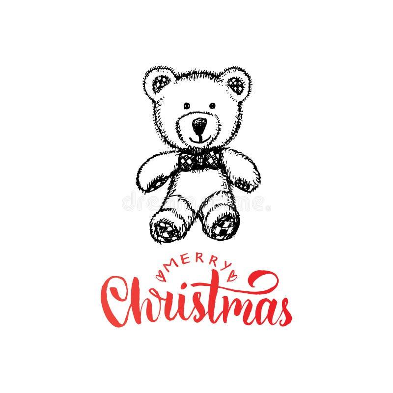 Het vrolijke Kerstmis van letters voorzien op witte achtergrond De vectorhand getrokken illustratie van stuk speelgoed pluche dra stock illustratie