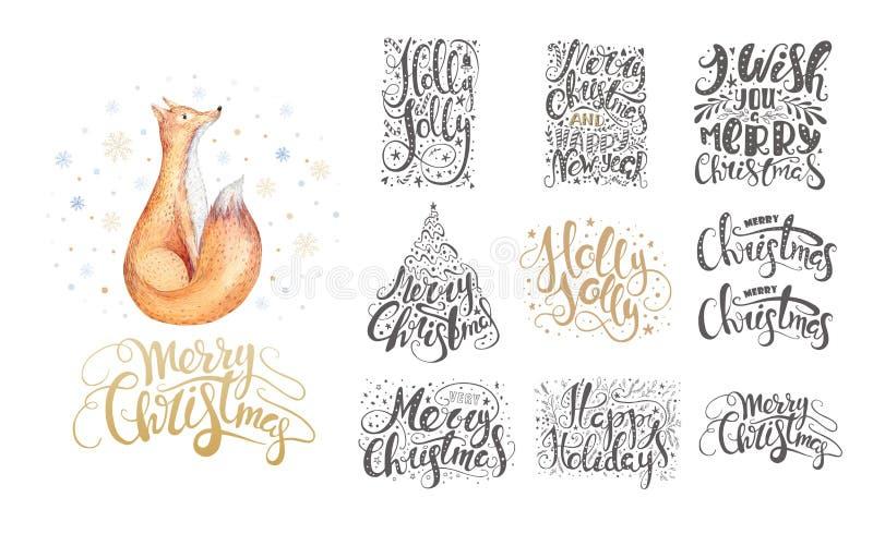 Het vrolijke Kerstmis van letters voorzien over met sneeuwvlokken en vossen Hand D vector illustratie
