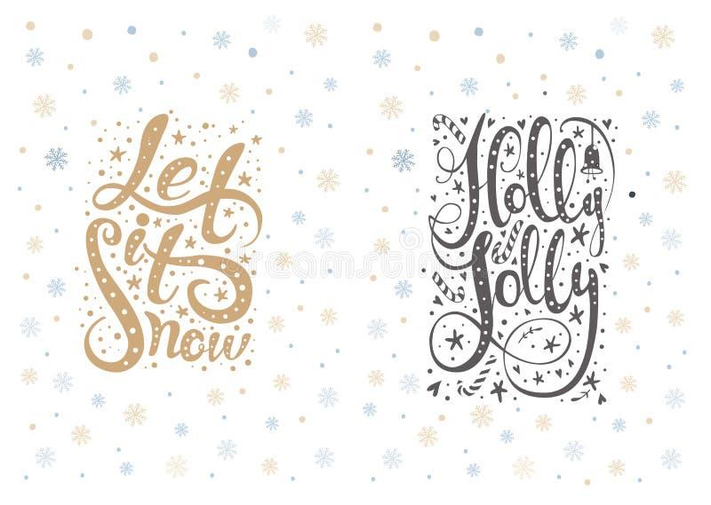 Het vrolijke Kerstmis van letters voorzien over met sneeuwvlokken Hand getrokken tekst stock illustratie
