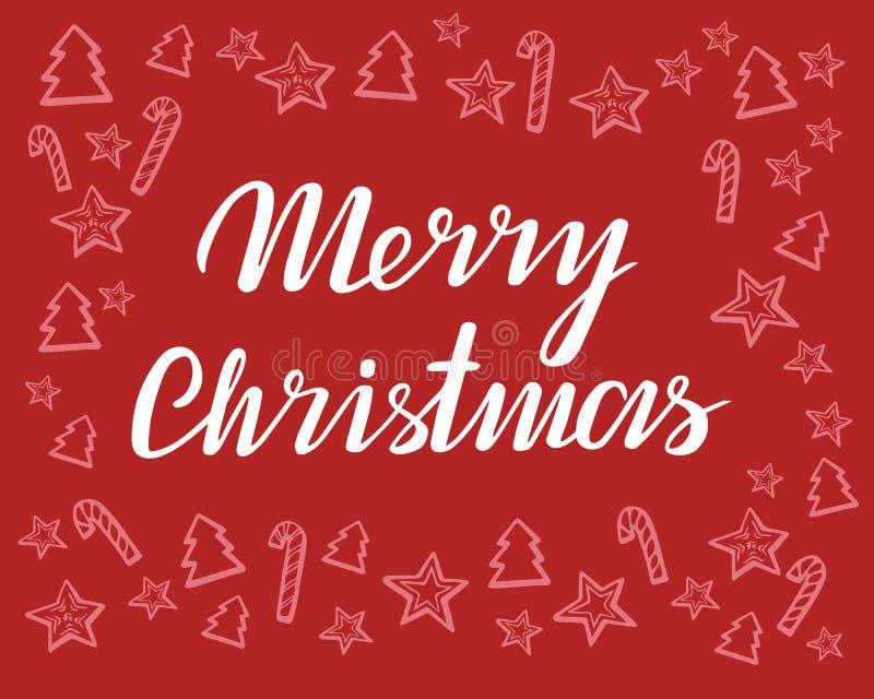 Het vrolijke Kerstmis Vector grafische Van letters voorzien en hand-drawn Kerstmis De kaart van de groet Vector illustratie stock illustratie