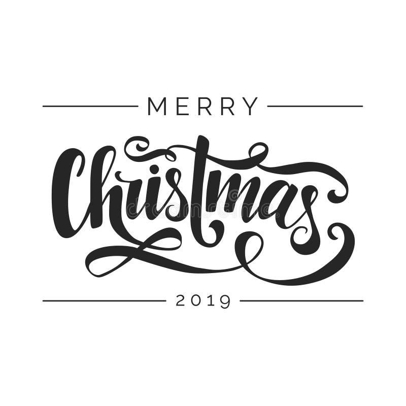 Het vrolijke Kerstmis Vector Van letters voorzien Met de hand geschreven typografiemalplaatje Zwarte brieven op witte achtergrond royalty-vrije illustratie