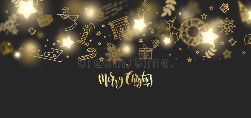 Het vrolijke Kerstmisgoud schittert het van letters voorzien ontwerp stock foto's
