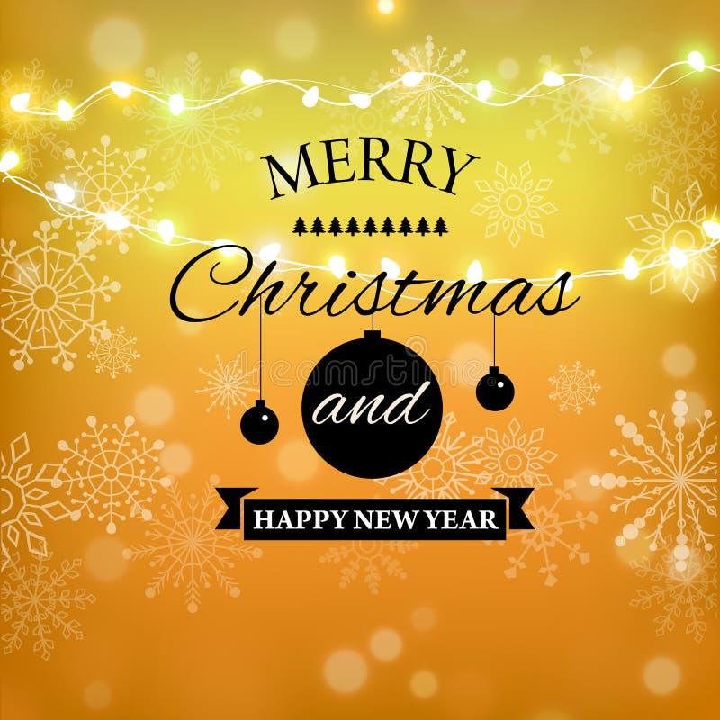 Het vrolijke Kerstmisgoud schittert het van letters voorzien ontwerp De kaart van de Kerstmisgroet, affiche, banner Gouden schitt vector illustratie