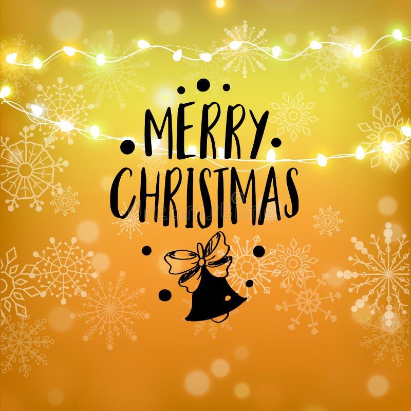Het vrolijke Kerstmisgoud schittert het van letters voorzien ontwerp De kaart van de Kerstmisgroet, affiche, banner Gouden schitt royalty-vrije illustratie