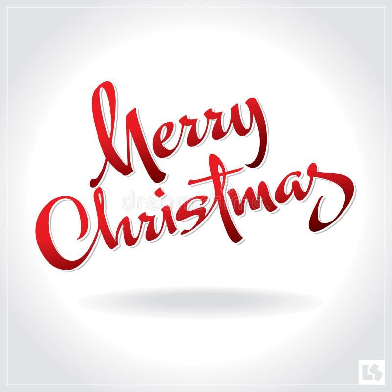 Het vrolijke Kerstmishand van letters voorzien () stock illustratie