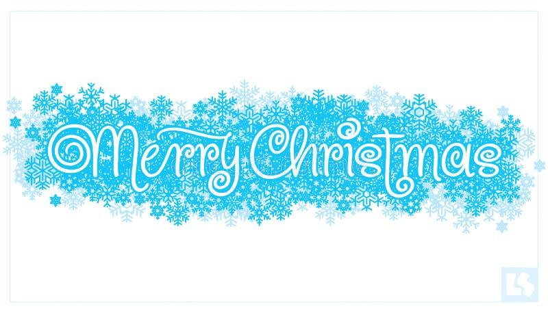 Het vrolijke Kerstmishand van letters voorzien () vector illustratie