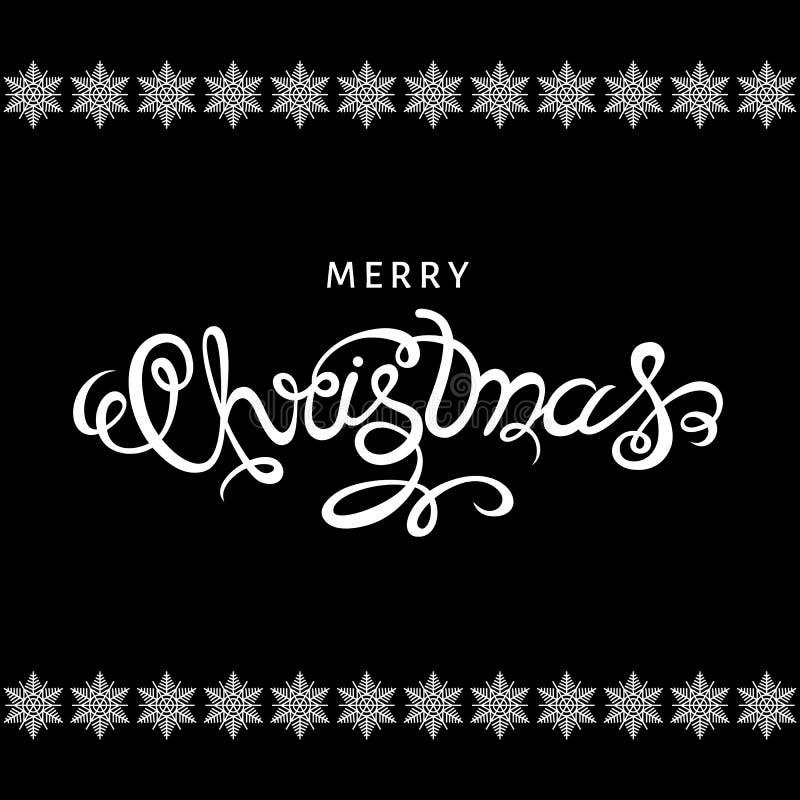 Het vrolijke Kerstmishand van letters voorzien op zwarte achtergrond vector illustratie