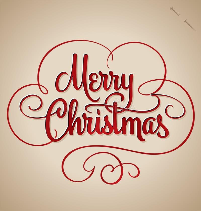 Het vrolijke Kerstmishand van letters voorzien (vector) stock illustratie