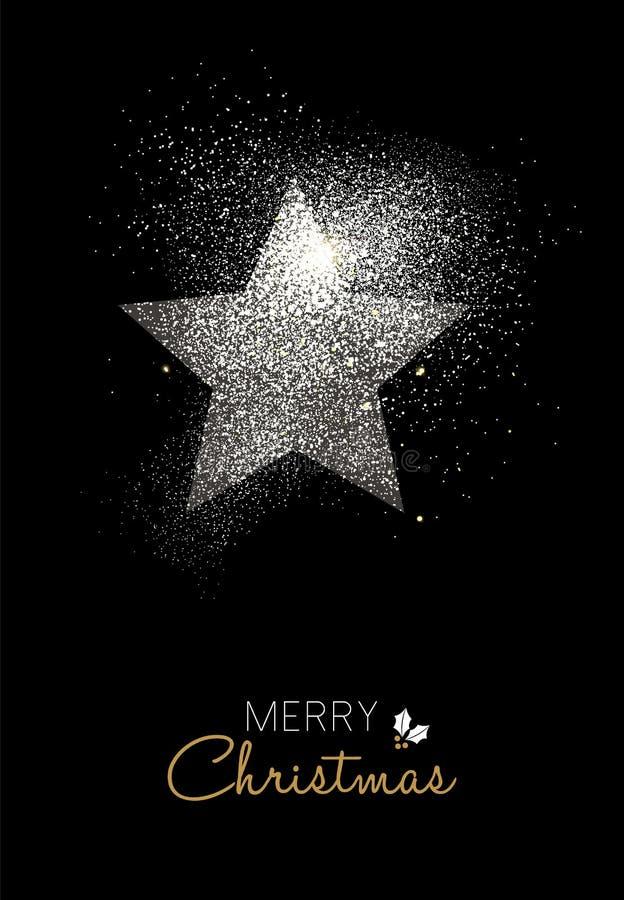 Het vrolijke Kerstmiszilver schittert de kaart van de stervakantie stock illustratie