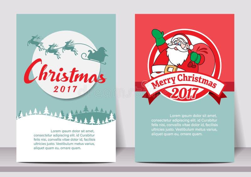 Het vrolijke malplaatje van de de typografievlieger van het Kerstmis Gelukkige nieuwe jaar met het van letters voorzien groetkaar royalty-vrije illustratie