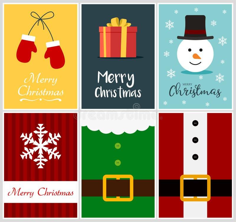 Het vrolijke malplaatje van het de kaartontwerp van de Kerstmisgroet stock illustratie